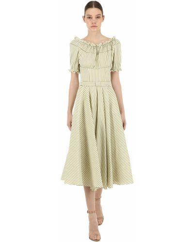Приталенное льняное зеленое платье Luisa Beccaria
