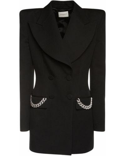 Шерстяной черный пиджак с карманами Giuseppe Di Morabito