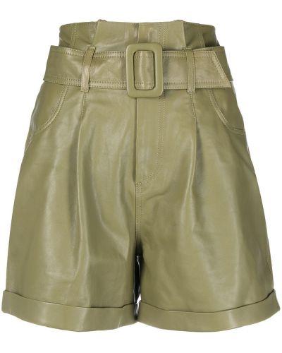 Зеленые кожаные шорты с карманами Federica Tosi