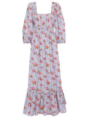 Ватное хлопковое фиолетовое платье макси Loveshackfancy