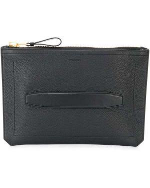 Акриловая черная кожаная сумка на молнии с карманами Tom Ford