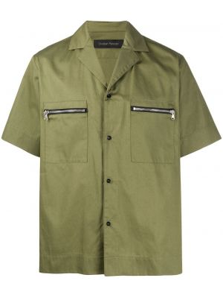Zielona klasyczna koszula krótki rękaw bawełniana Christian Pellizzari