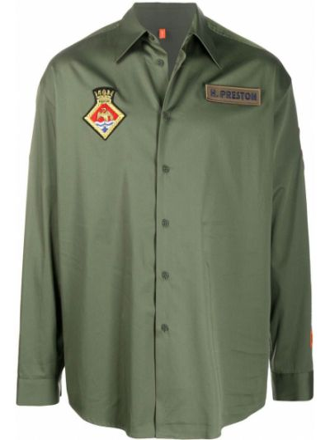 Zielony klasyczny bawełna koszula klasyczna z łatami Heron Preston