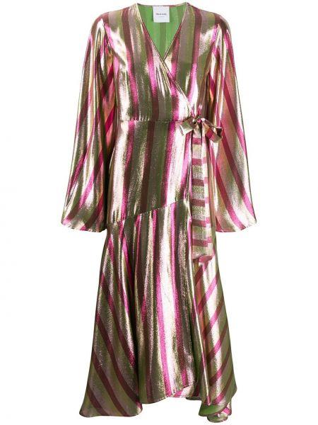 Шелковое розовое платье миди с запахом с V-образным вырезом Black Coral