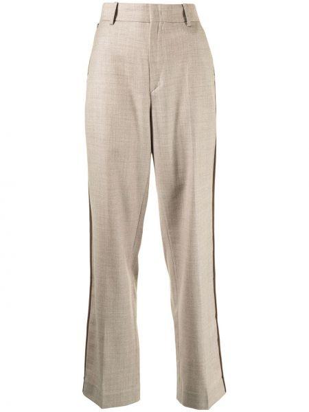 Beżowe spodnie z wysokim stanem wełniane Ader Error