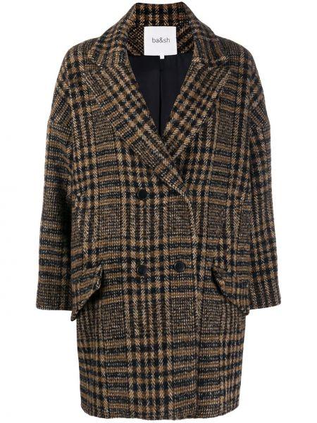Коричневая прямая длинная куртка твидовая на пуговицах Ba&sh