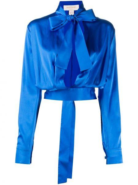 С рукавами синий сатиновый кроп-топ с V-образным вырезом Matériel