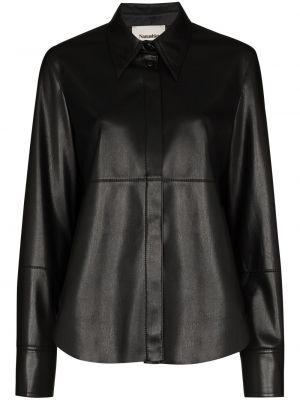 Черная рубашка с воротником на пуговицах с длинными рукавами Nanushka