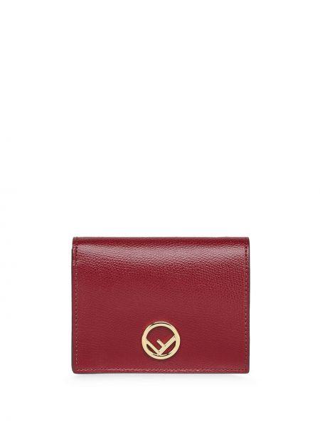Золотистый кожаный красный кошелек для монет Fendi