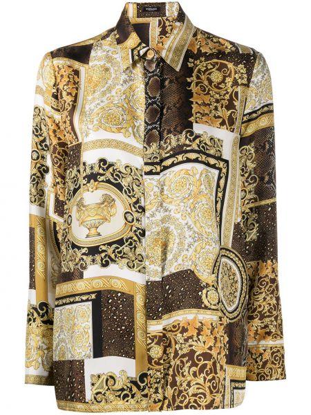 Шелковая классическая рубашка с воротником с длинными рукавами Versace