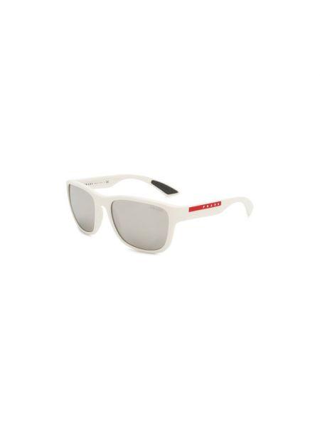 Белые муслиновые солнцезащитные очки со вставками Prada Linea Rossa