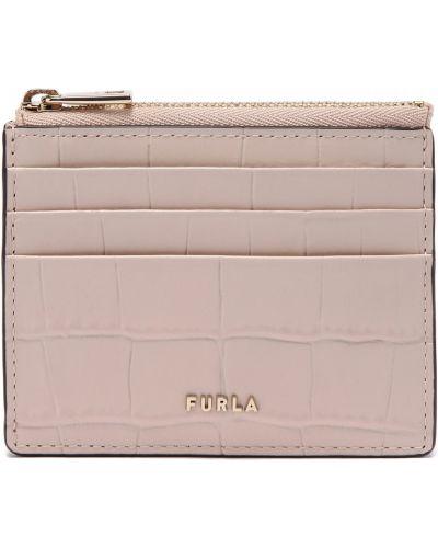 Розовая кожаная визитница Furla