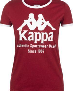 Красная хлопковая футбольная приталенная спортивная футболка Kappa