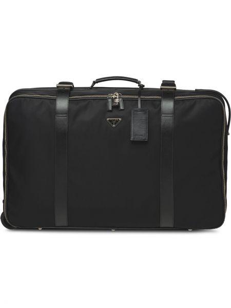 Czarna walizka skórzana klamry Prada
