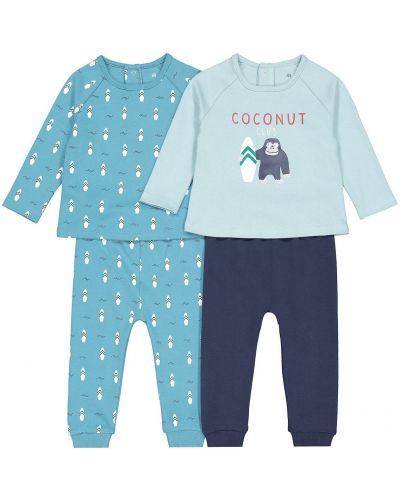 С рукавами синяя домашняя пижама с брюками Laredoute