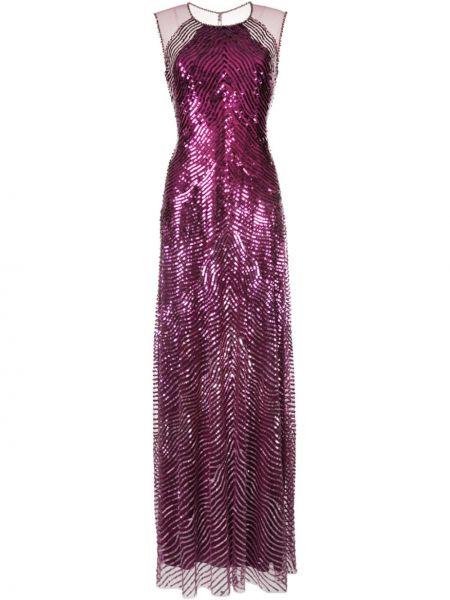 Плиссированное вечернее платье с пайетками на пуговицах прозрачное Jenny Packham