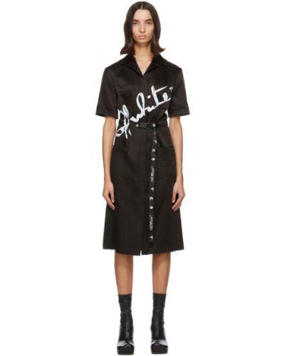 Nylon czarny sukienka mini z kołnierzem z kieszeniami Off-white