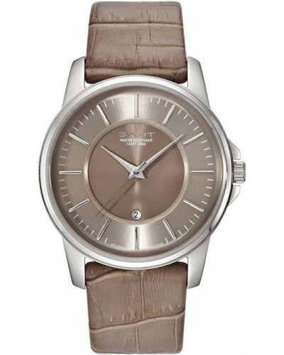 Szary zegarek na skórzanym pasku skórzany kwarc Gant