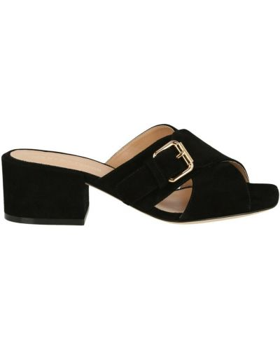 Czarne sandały z klamrą Sergio Rossi