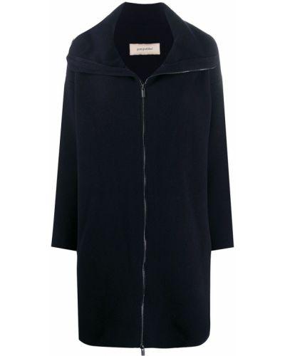 Кашемировое синее длинное пальто с воротником на молнии Gentry Portofino