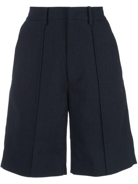 Плиссированные синие шорты с поясом Shushu/tong