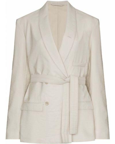 Шерстяной удлиненный пиджак двубортный с карманами Lemaire