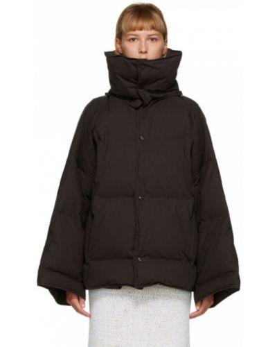 Черное пуховое длинное пальто с капюшоном Bottega Veneta