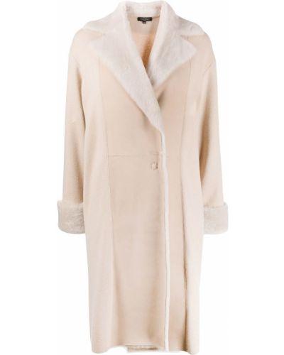 Шерстяное бежевое длинное пальто Antonelli