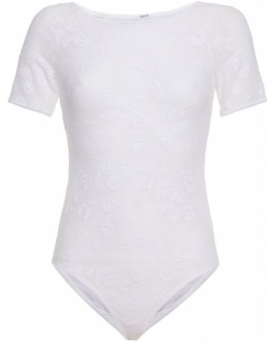 Текстильное белое кружевное боди Wolford