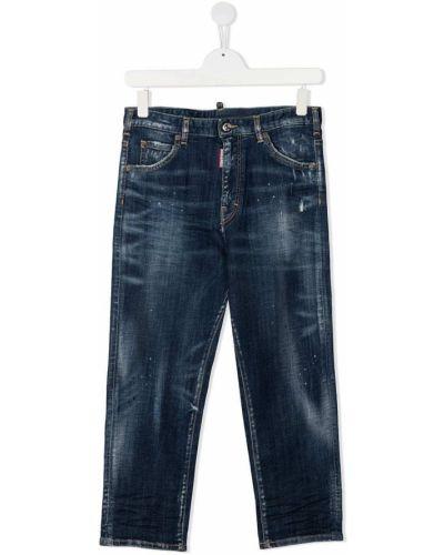 Прямые синие джинсы классические стрейч Dsquared2 Kids