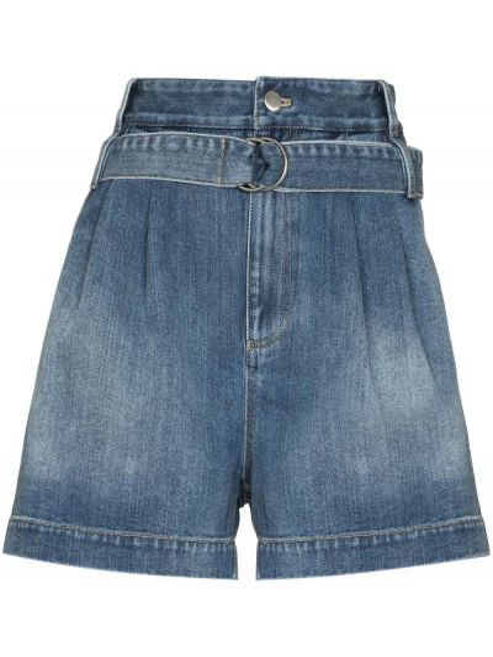 Хлопковые с завышенной талией джинсовые шорты с карманами Tibi