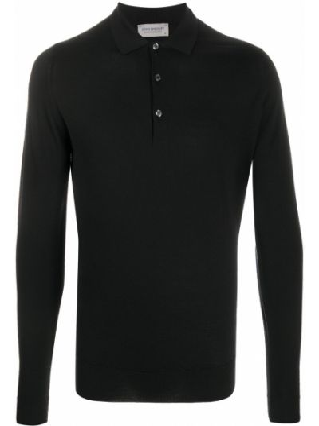 С рукавами черная классическая рубашка с воротником John Smedley