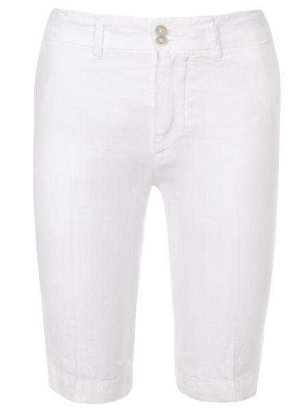 Белые льняные шорты с карманами на пуговицах 120% Lino