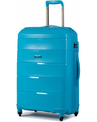 Niebieska walizka średnia materiałowa Puccini