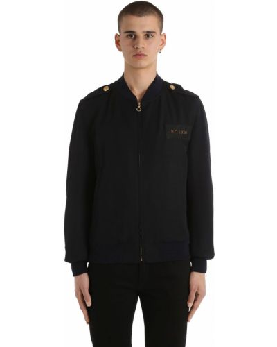 Prążkowana kurtka wełniana z haftem Kent & Curwen