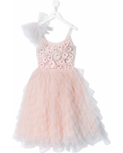 Розовое платье из фатина с вырезом с аппликациями Tutu Du Monde