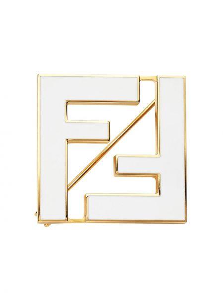 Золотистая белая брошь металлическая позолоченная Fendi