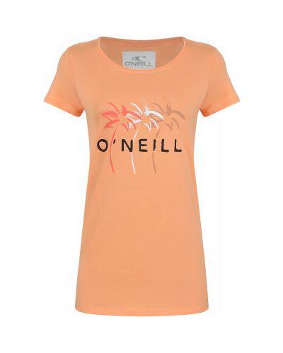 Оранжевая хлопковая прямая футболка O`neill
