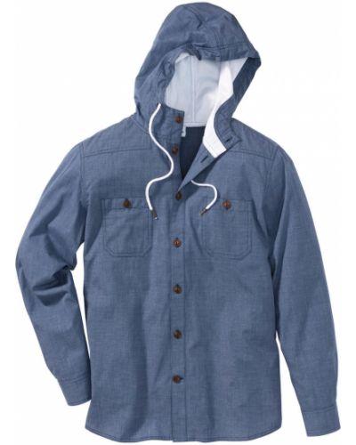 Рубашка с длинным рукавом в клетку с капюшоном Bonprix