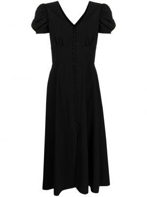 Расклешенное черное платье для полных Saloni