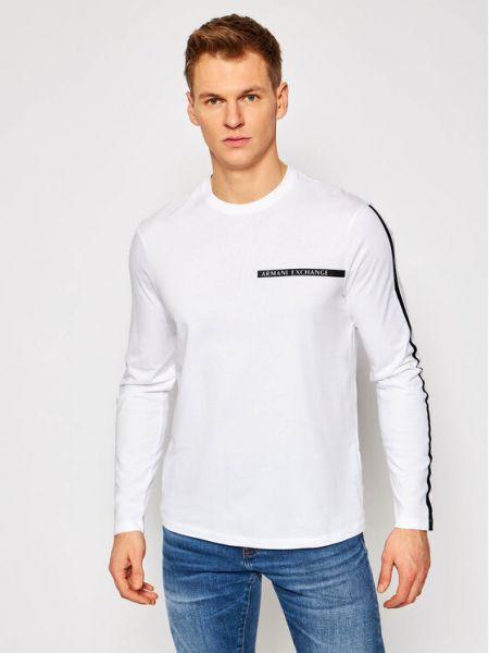 Biały koszulka z długim rękawem Armani Exchange