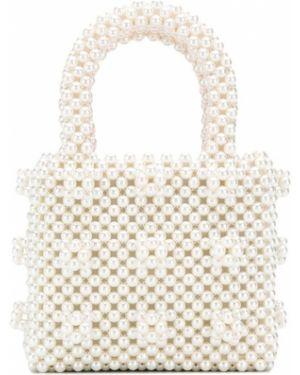 Beżowa torba na ramię perły z wiskozy Shrimps