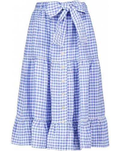 Льняная белая юбка миди с американской проймой Polo Ralph Lauren
