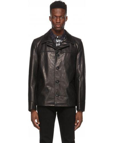 Czarny długi płaszcz w paski z wiskozy Schott