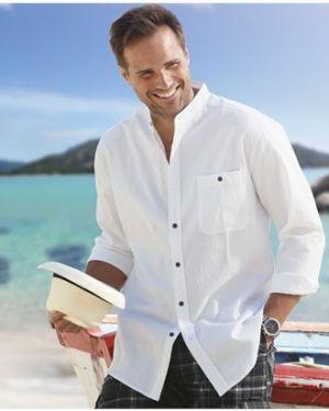 Рубашка с длинным рукавом с карманами с воротником-стойкой Atlas For Men