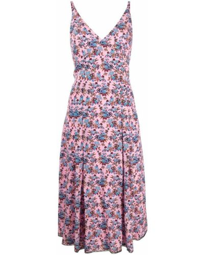 Шелковое розовое платье А-силуэта в цветочный принт Ps Paul Smith
