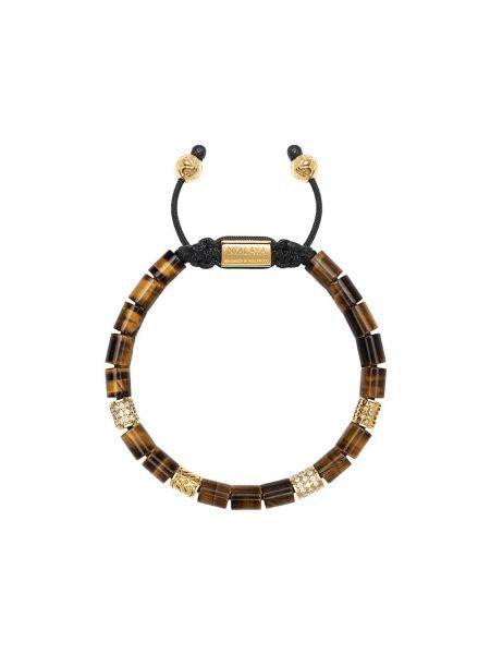 Нейлоновый коричневый браслет позолоченный в бусинах Nialaya Jewelry