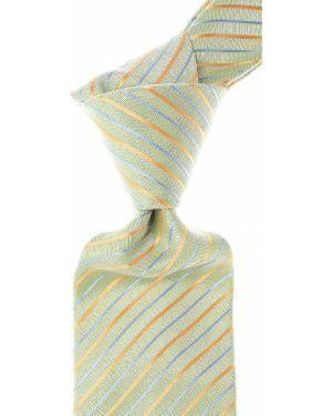 Zielony krawat w paski z jedwabiu Isaia