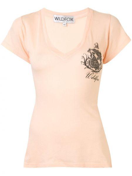 Pomarańczowy t-shirt bawełniany z dekoltem w serek Wildfox