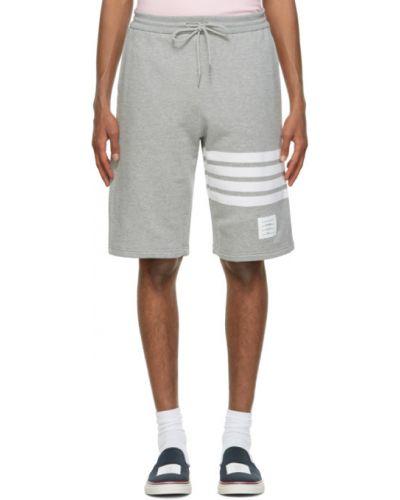 Белые шорты в полоску с карманами Thom Browne